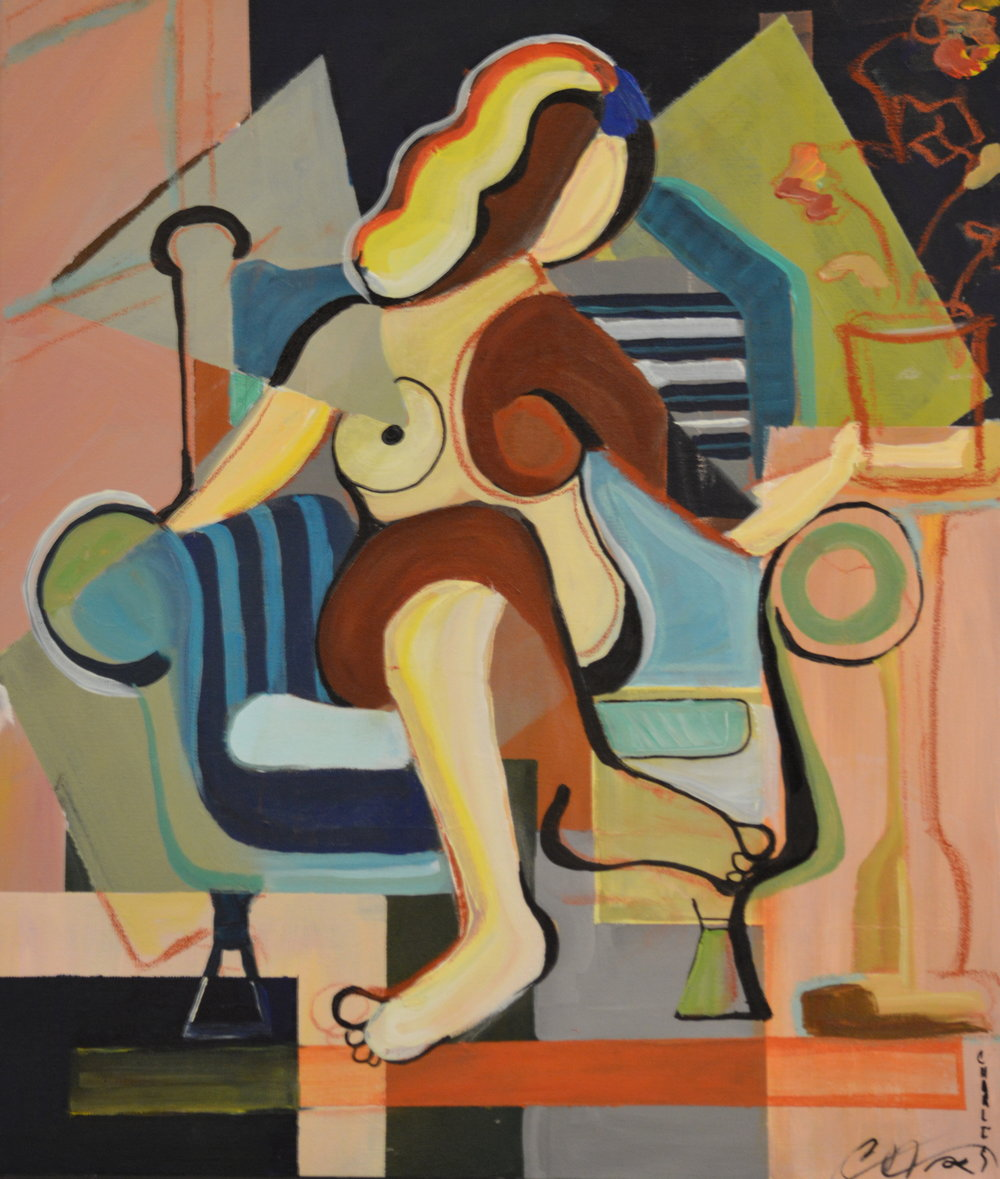 "#9 Charles William ""Facial"" ""Woman in Blue Chair"", 20 x 24, $350"