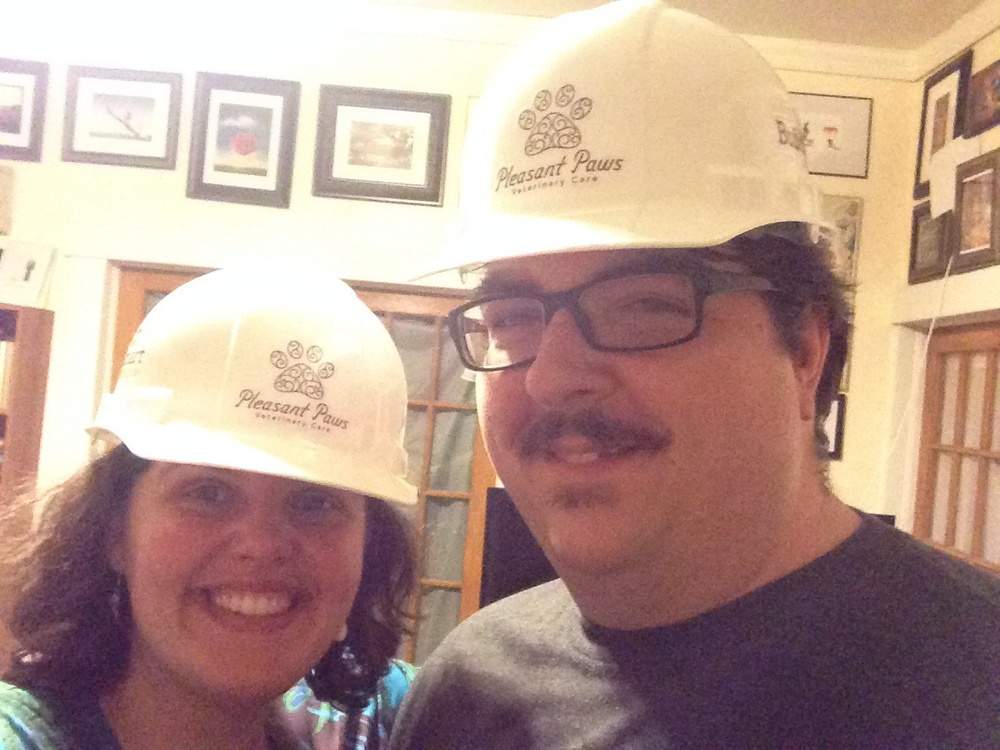 These fancy hard hats were gifts from our general contractor, BuildSmart Construction.
