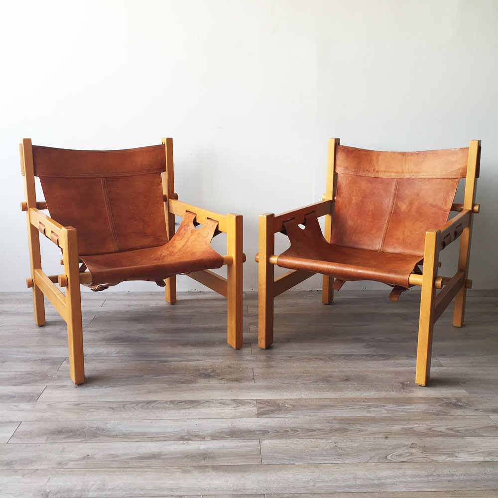 Pair Of South American Safari Chairs In The Style Of Borge Mogensen