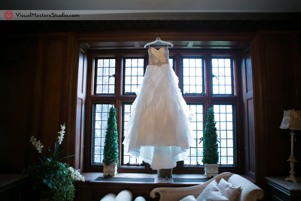 Wedding Gown at The Castle at skylands Manor by Visual Masters