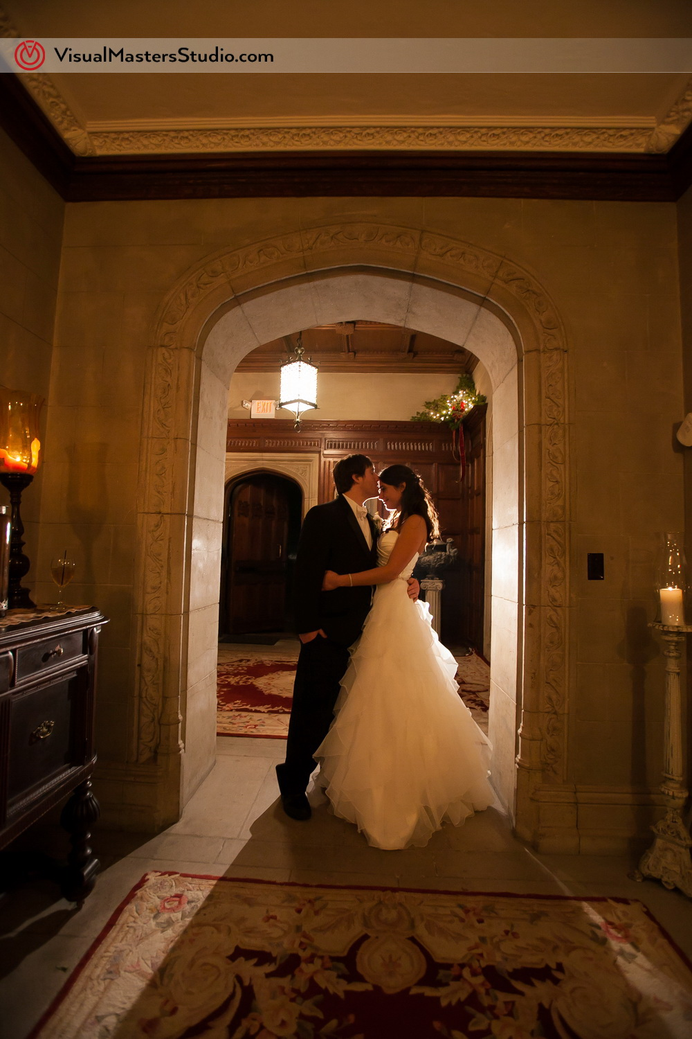 Bride and Groom Posing at The Castle at Skylands Manor by Visual Masters