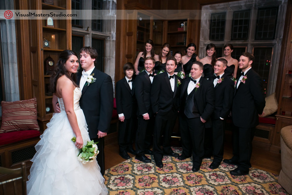 Bridal Party Portrait at The Castle at Skylands Manor by Visual Masters