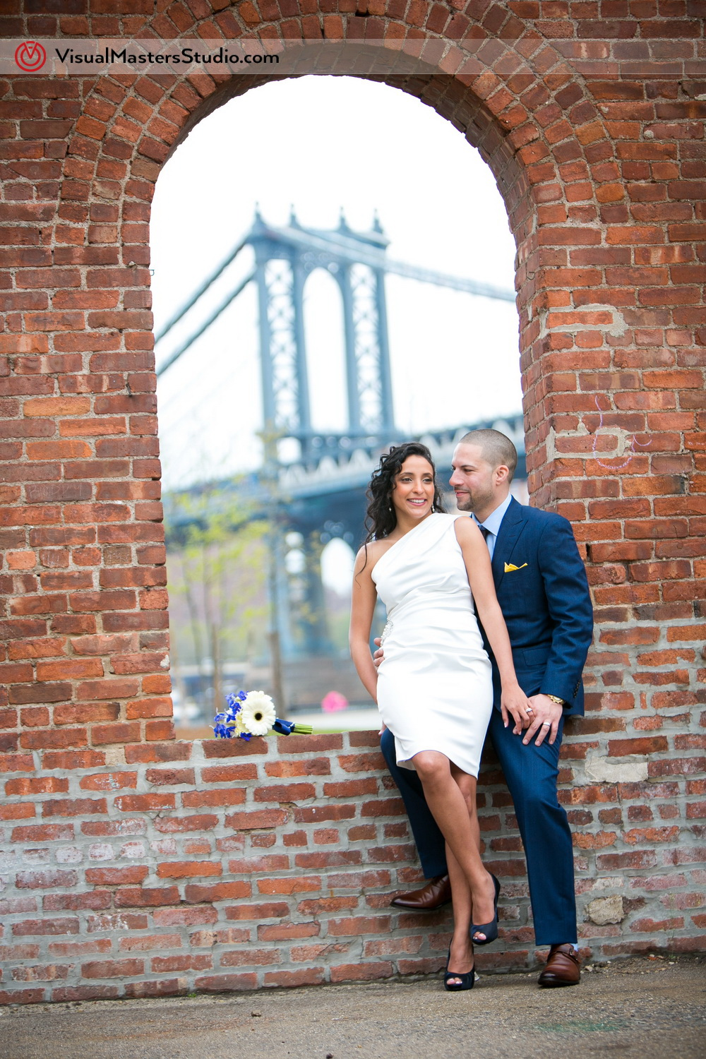 Bride and Groom Posing Brooklyn Elopement by Visual Masters