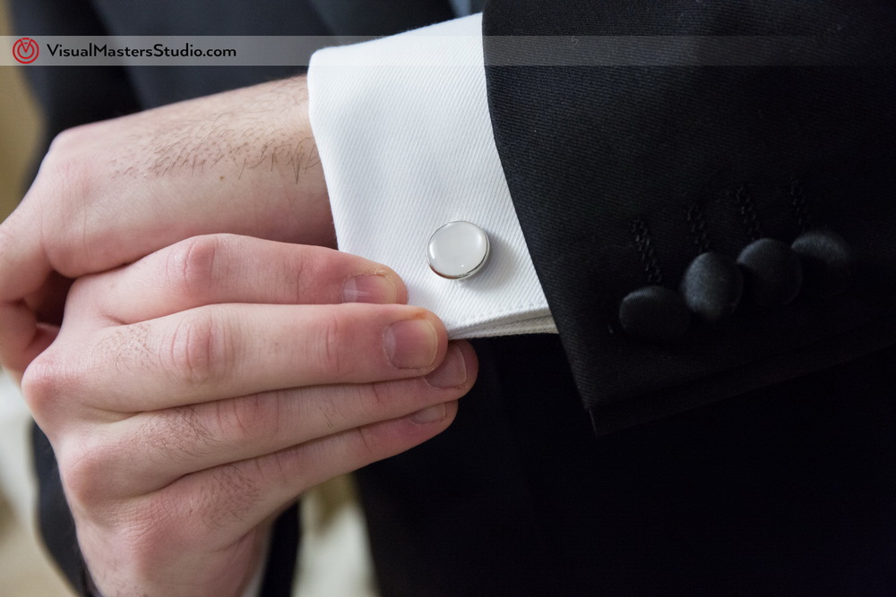 Elegant White Cufflink by Visual Masters