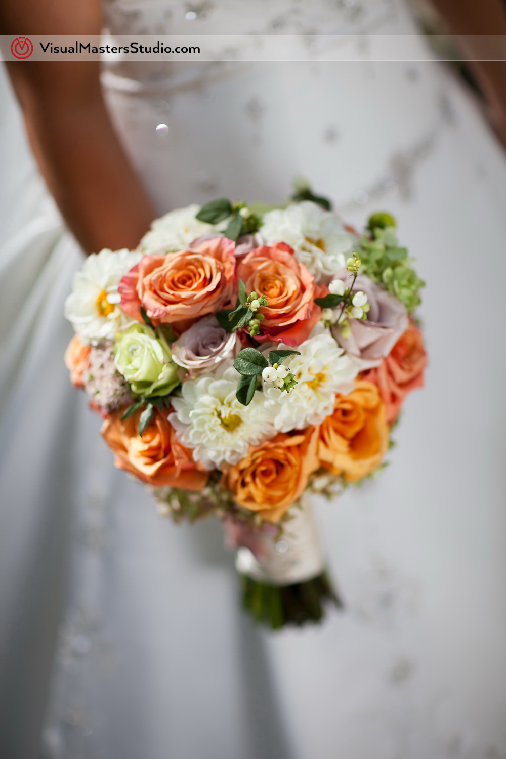 White, Orange, Pink and Green Wedding Bouquet by Visual Masters