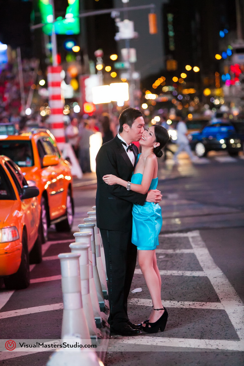 Times Square Bridal Session at Night by Visual Masters