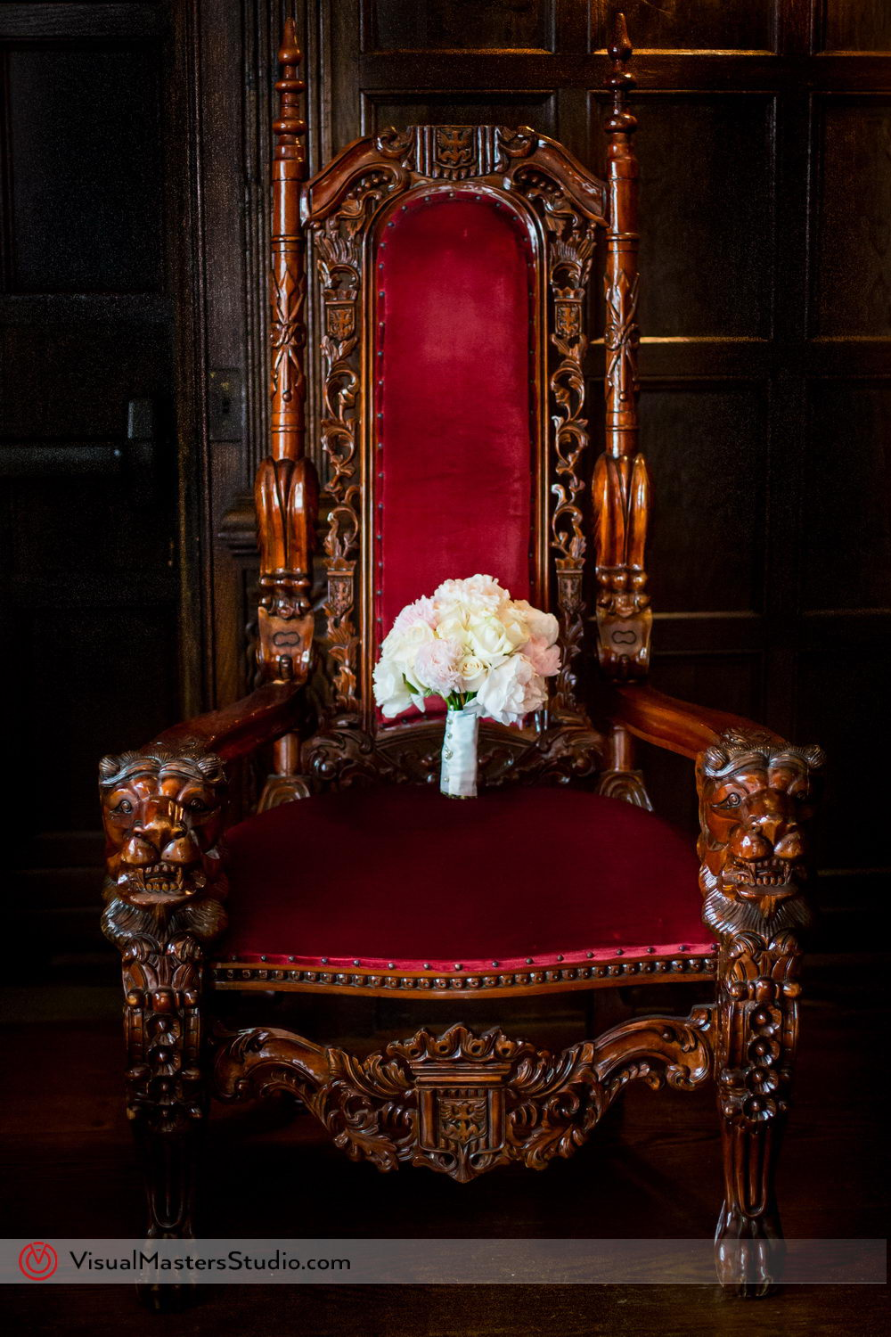 Elegant Bridal Bouquet Resting on the Throne at Skylands Manor by Visual Masters