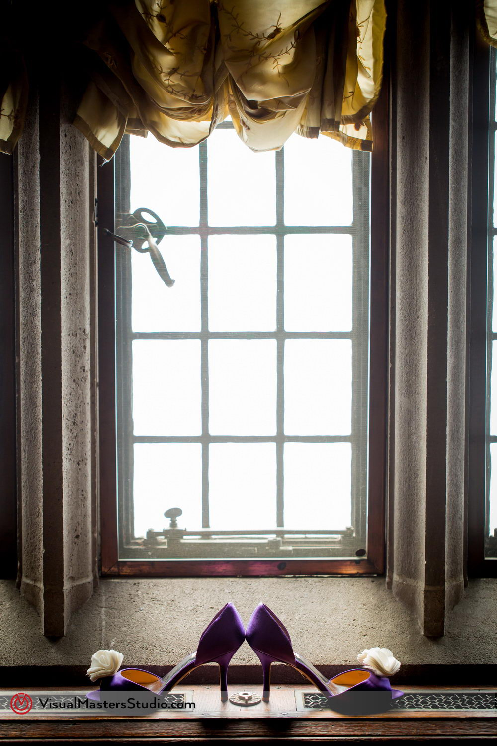 Purple Bridal Shoes in the Window at Skylands Manor by Visual Masters