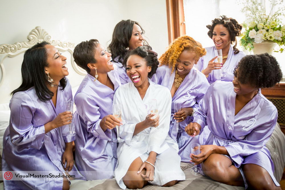 Bride and Bridesmaids Having some Champagne at Skylands Manor by Visual Masters