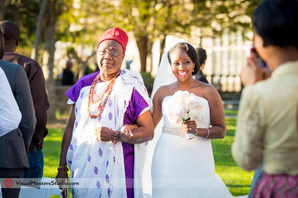 Traditionaly Dressed Father Escorting Bride down the Aisle at Skylands Manor by Visual Masters
