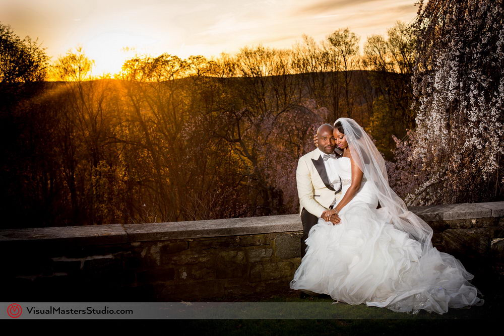 Bride and Groom having a minute alone at Skylands Manor by Visual Masters