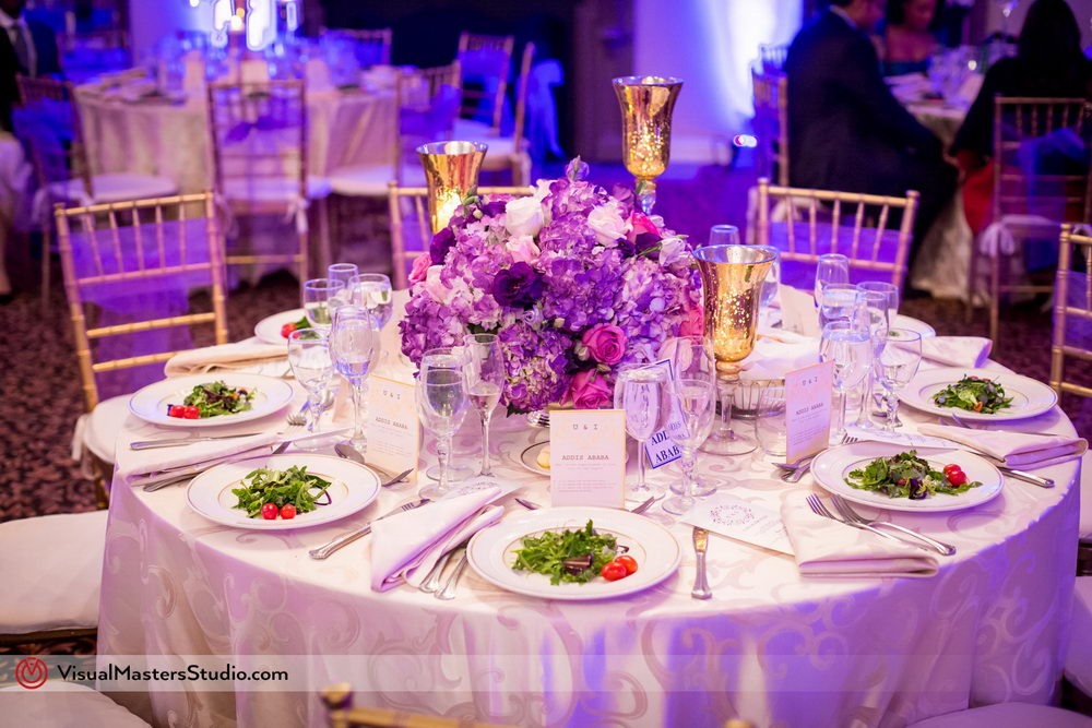 Purple Themed Wedding Table Setting at Skylands Manor by Visual Masters