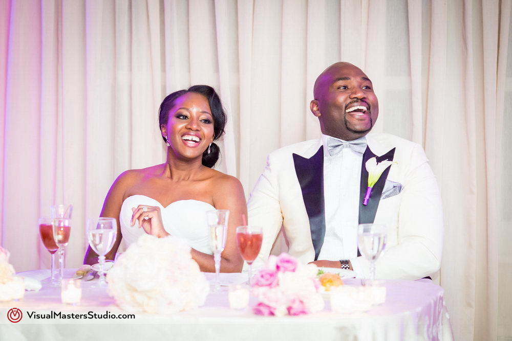 Guests Reflecting on Bride and Groom at Skylands Manor by Visual Masters