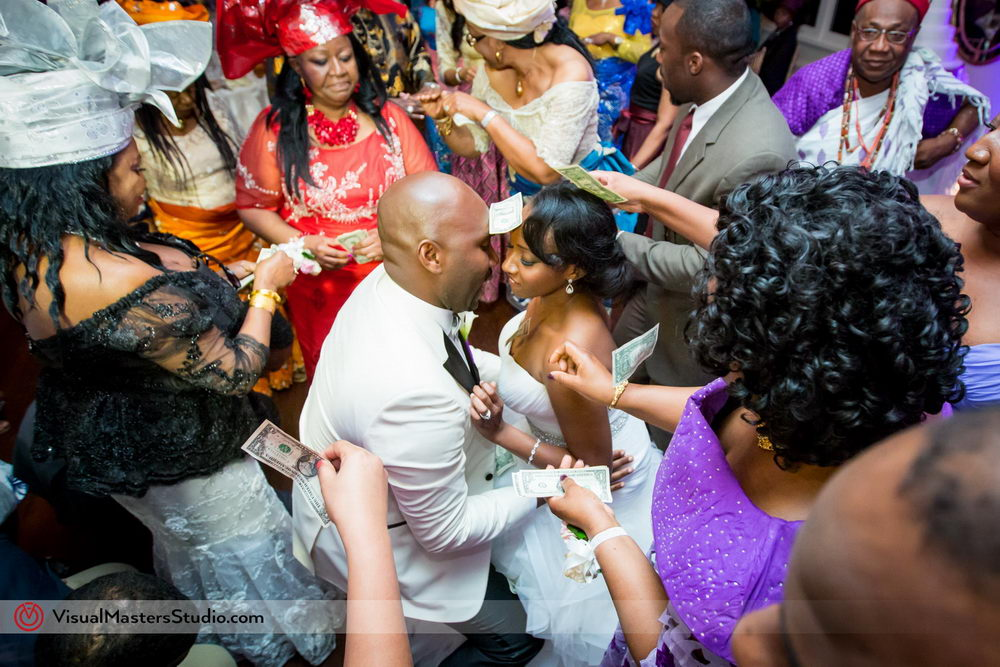 Bride and Groom Showing Everyone Moves at Skylands Manor by Visual Masters