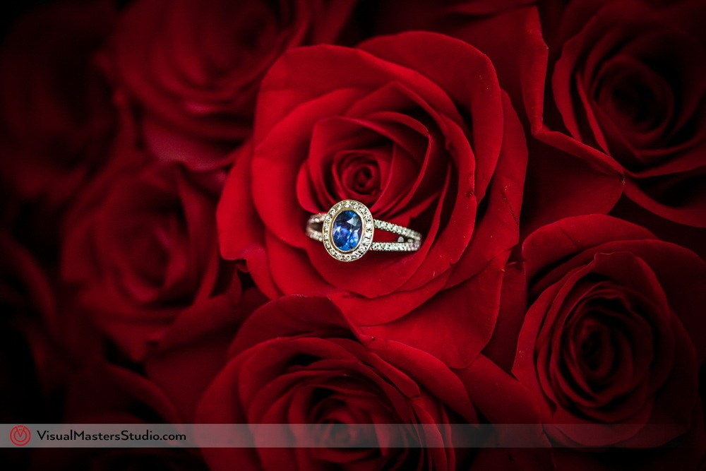 Blue Sapphire and Diamond Engagement Ring by Visual Masters