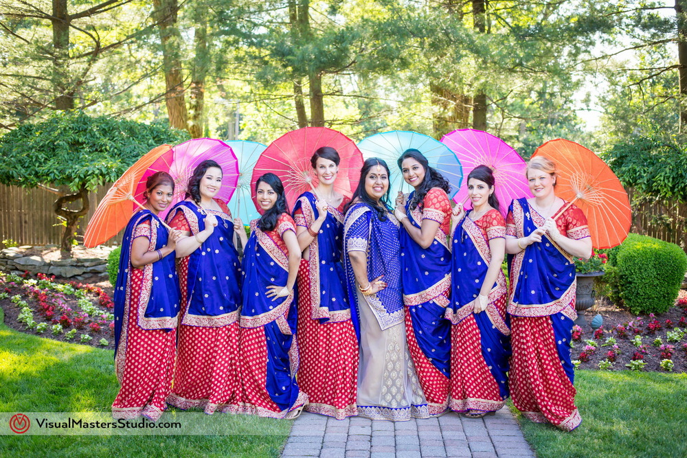Red And Blue Bridesmaids Lehengas at Mayfair Farms by Visual Masters