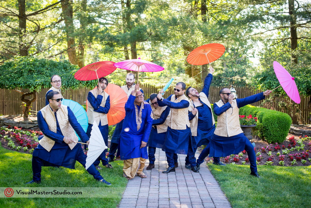 Groom and Groomsman in Blue Sherwani