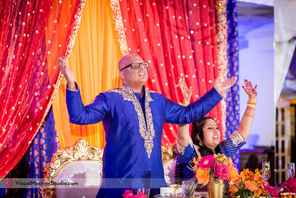 Groom in Blue Sherwani at Mayfair Farms by Visual Masters