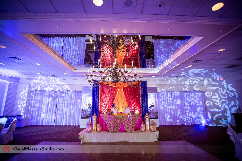 Modern Wedding Ceremony Mandap at Mayfair Farms by Visual Masters