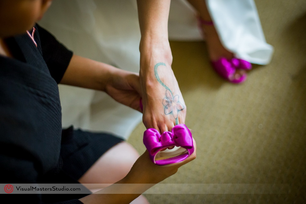 Purple Wedding Shoes with Bow by Visual Masters