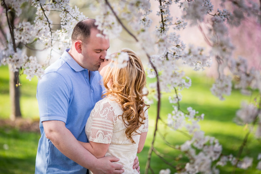 Cherry Blossom Engagement of Megan & Jason at Branch Brook Park