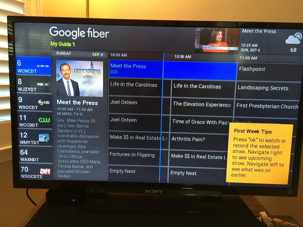 Google Fiber On-Screen TV Guide