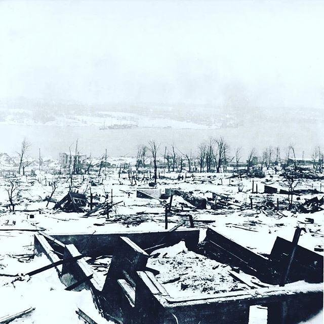 Our beautiful city looked very different 100 years ago. Today marks the anniversary of the Halifax Explosion. Take a moment to remember the victims as well those who took on the difficult task of rescue and then rebuilding. #Halifax #halifaxexplosion #100thanniversary