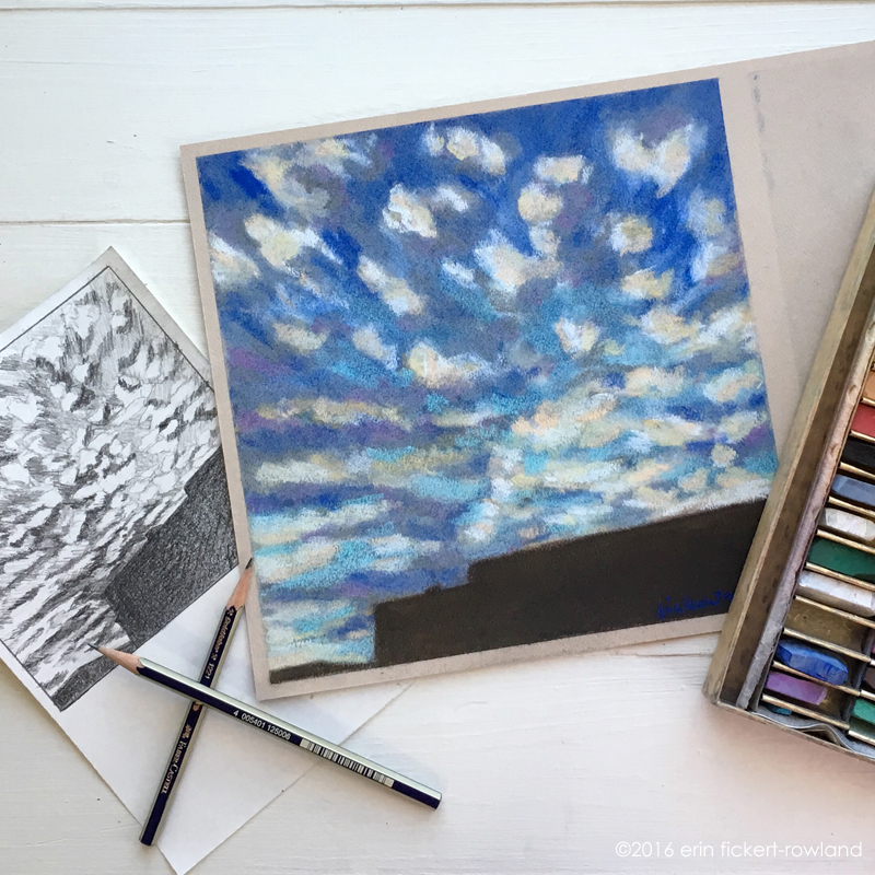 """Sunset Clouds over Santa Fe,' graphite on paper and soft pastel on paper"