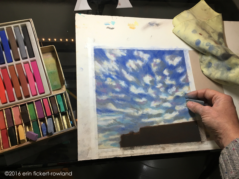 """Sunset Clouds over Santa Fe"" in progress, soft pastel on paper"