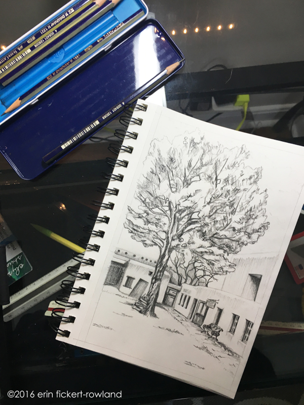 """A Tree Grows in the Courtyard, Palace of the Governors, Santa Fe,"" graphite on paper"