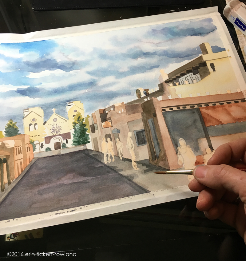 """Sunlight on Cathedral Basilica of St. Francis of Assisi, Santa Fe"" in progress, watercolor on paper"