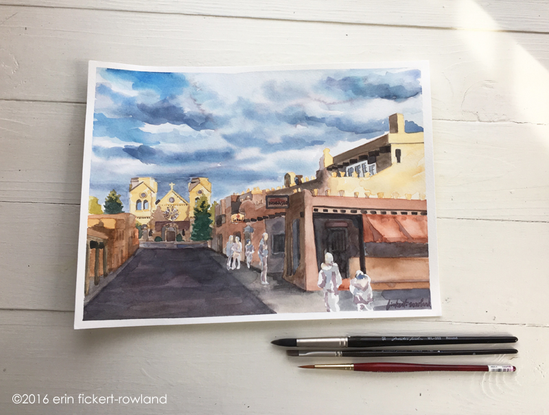 """Sunlight on Cathedral Basilica of St. Francis of Assisi, Santa Fe,"" watercolor on paper"