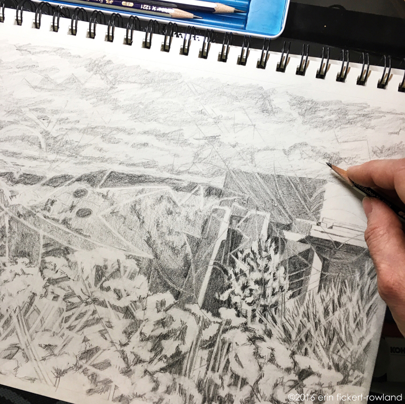 """Contemporary Thoughts of an Ancient Land, Museum Hill, Santa Fe,"" in progress, graphite on paper"