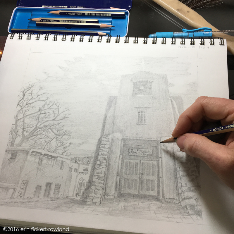 """Barrio de Analco, Santa Fe"" in progress, graphite on paper"