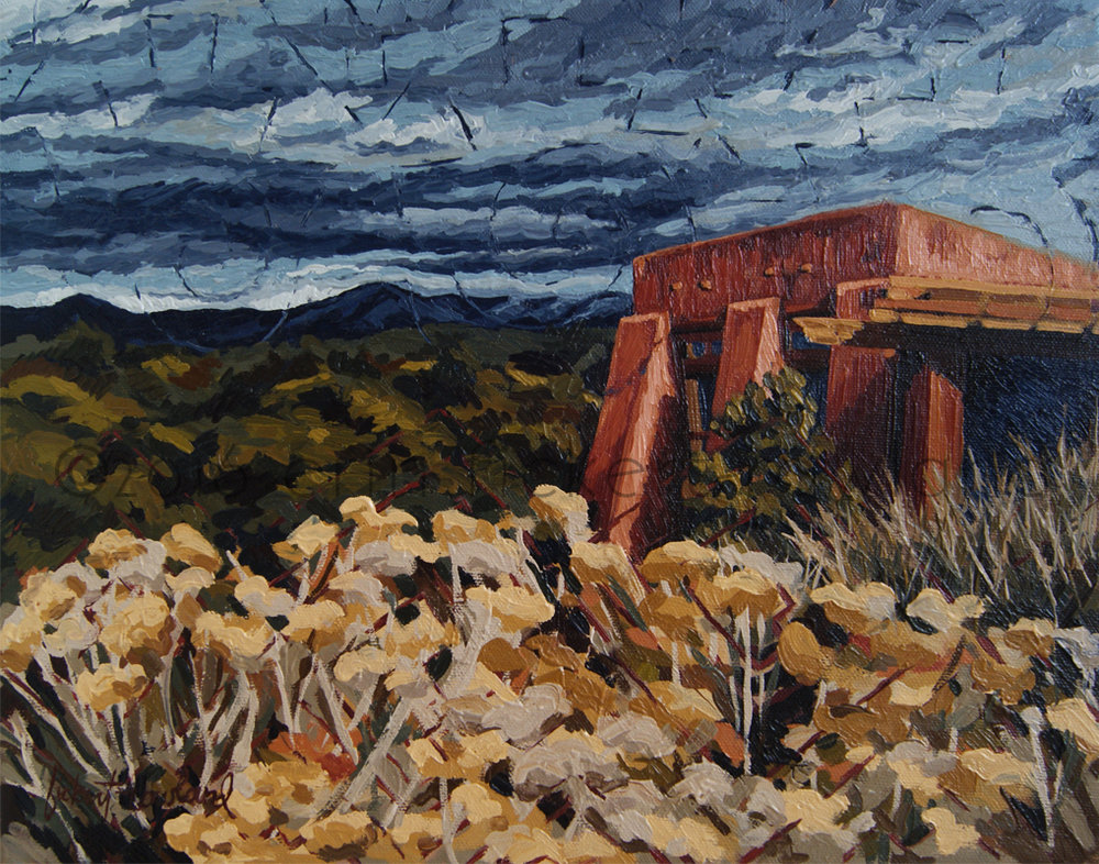 """Echoes of Tularosa, Museum Hill, Santa Fe, NM,"" oil on canvas, ©2016 Erin Fickert-Rowland"