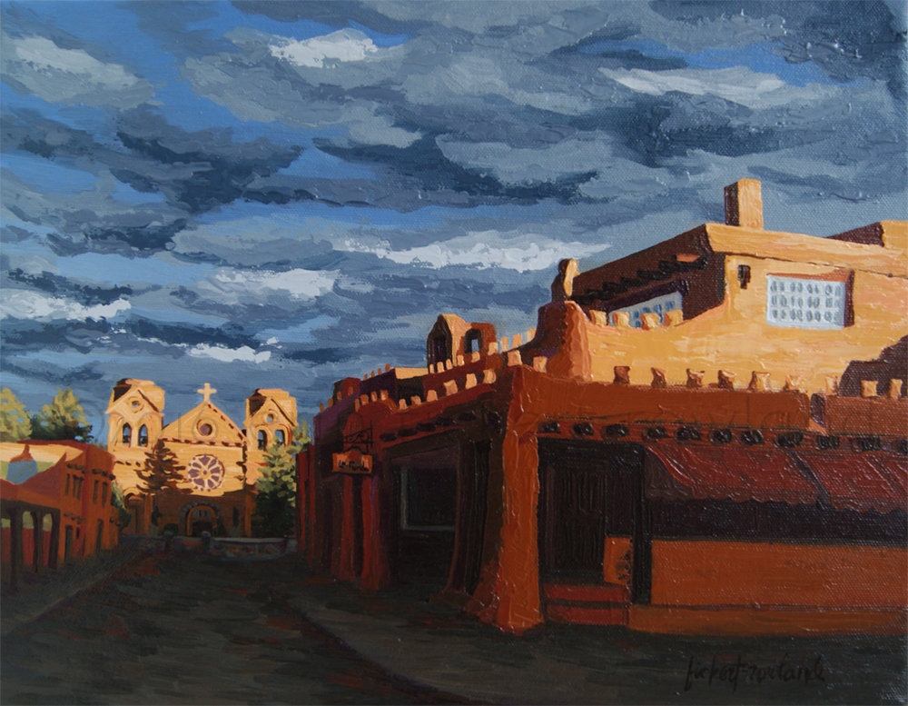 """Los Farolitos, Santa Fe, NM,"" (The Lanterns), oil on canvas, ©2016 Erin Fickert-Rowland"