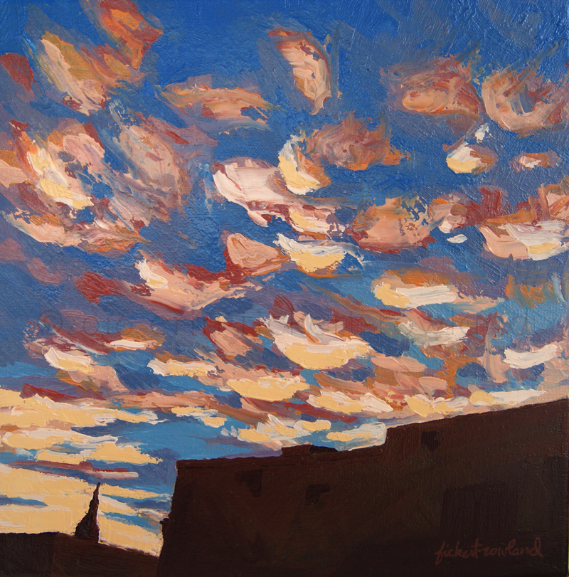 """Sunset Clouds over Santa Fe,"" oil on canvas, ©2016 Erin Fickert-Rowland"