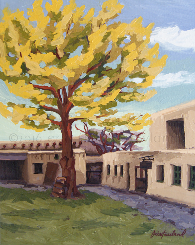 """A Tree Grows in the Courtyard, Palace of the Governors, Santa Fe,"" oil on canvas, ©2016 Erin Fickert-Rowland"