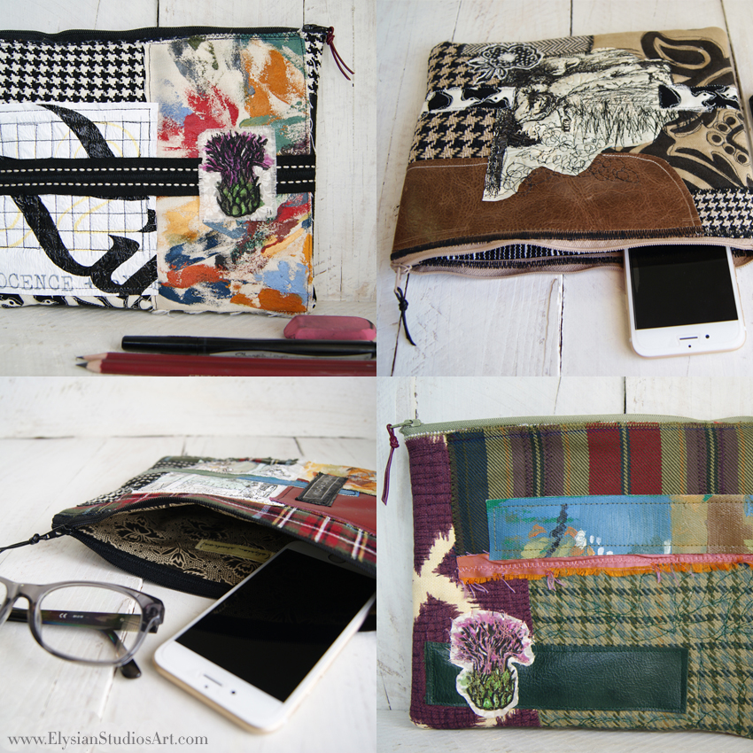 Slim Zipper Pouch Mixed Media Art Bags