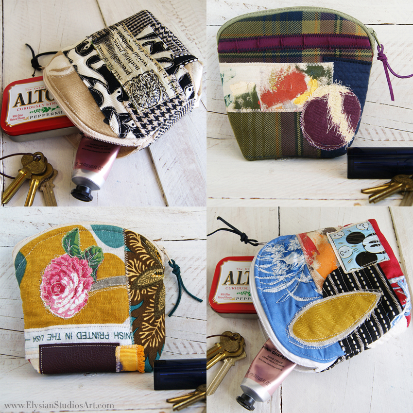 Gusseted Zipper Pouch Mixed Media Art Bags