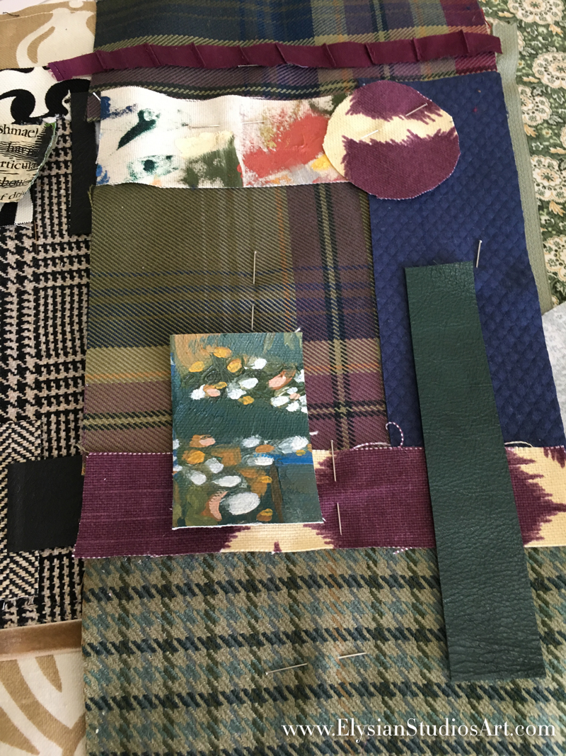 Arranging Fabrics for Mixed Media Art Bags