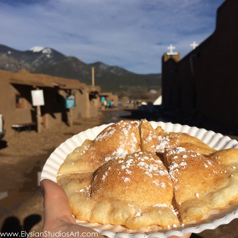 Homemade fry bread from a friendly Taos Pueblo kitchen