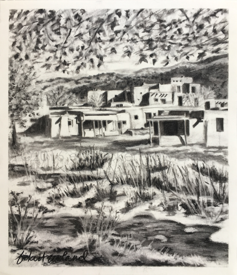 """Hlaukwima, Taos Pueblo (South House)"" charcoal on paper, ©2016 Erin Fickert-Rowland"