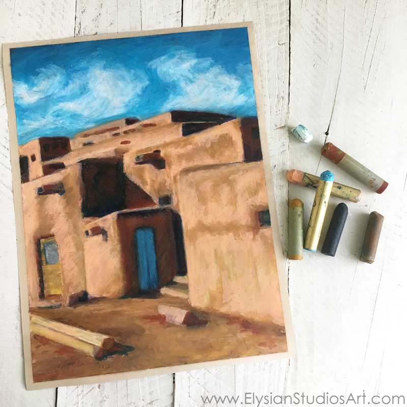 """Hlauuma, Taos Pueblo (North House),"" oil pastel on paper, ©2016 Erin Fickert-Rowland"
