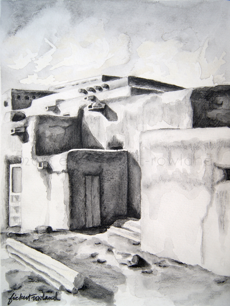 """Hlauuma, Taos Pueblo (North House),"" water soluble graphite on paper, ©2016 Erin Fickert-Rowland"
