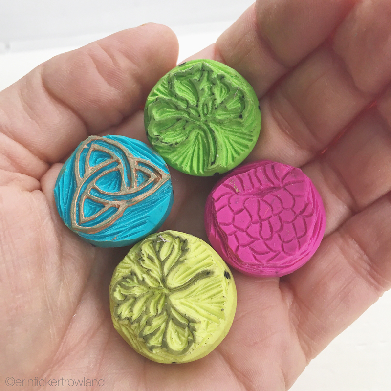 Small original hand carved stamp designs: Celtic trinity knot, shamrocks and raspberry