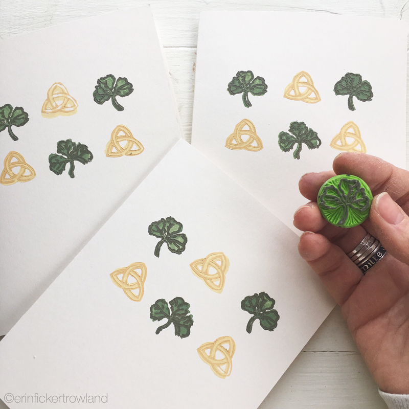 Second layer of shamrock stamp added to  Éire  design