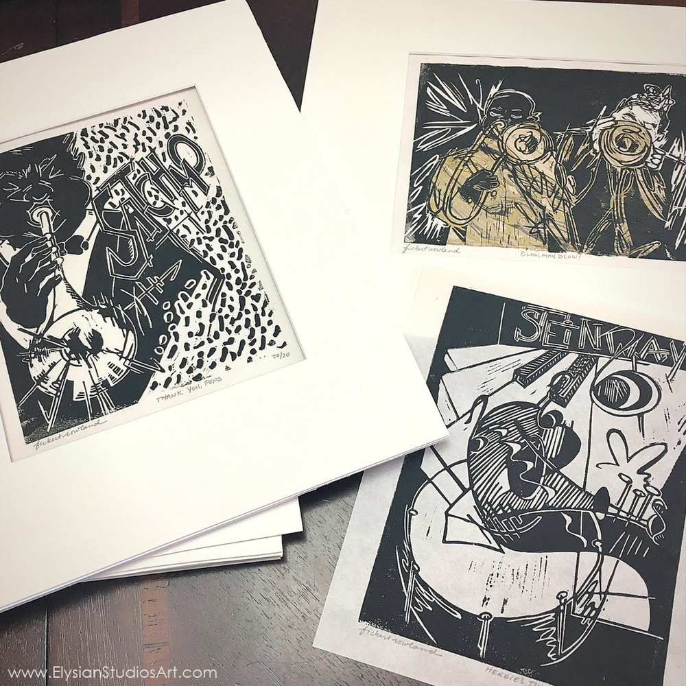 Matting Original Linocut Prints