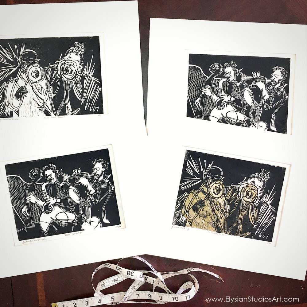 Four Matted Original Linocut Prints
