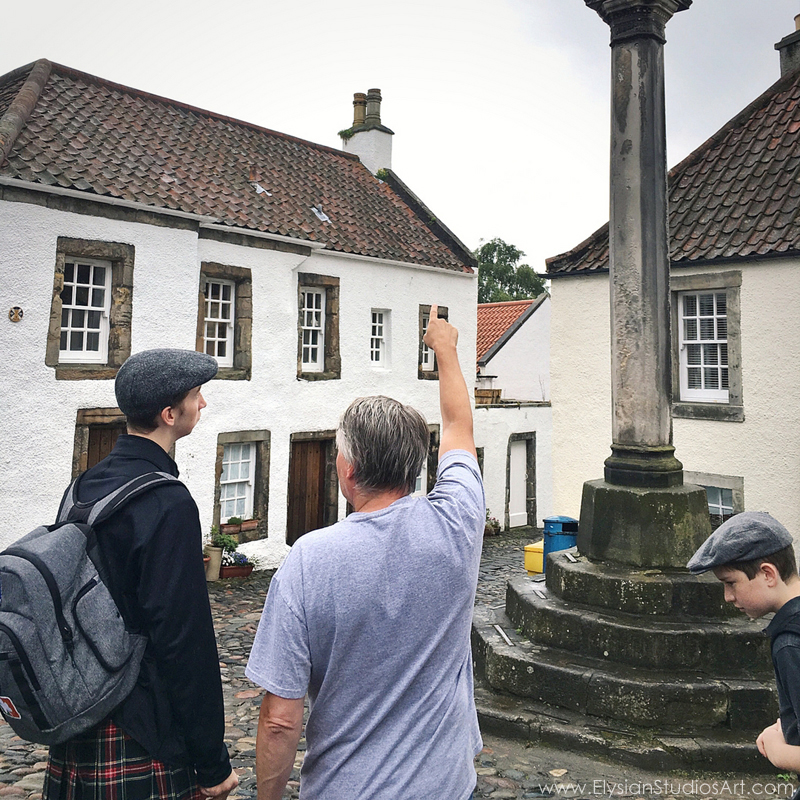 Learning village history from a local resident, Culross, Scotland
